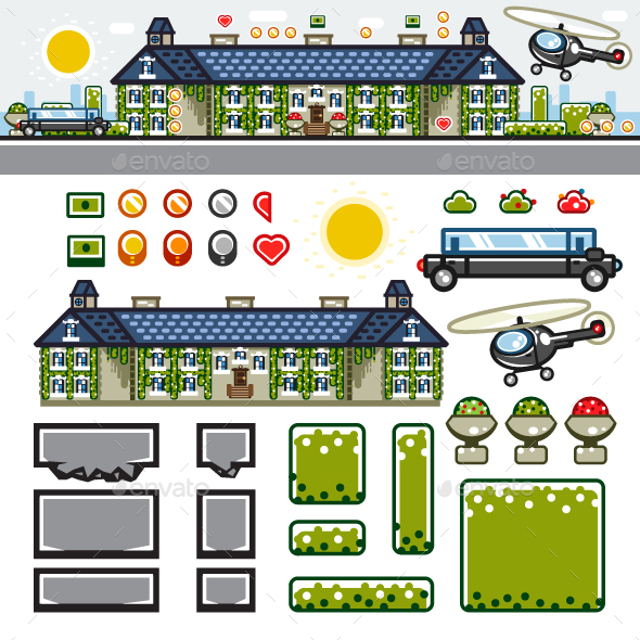Luxury Mansion Flat Game Level Kit - Backgrounds Game Assets