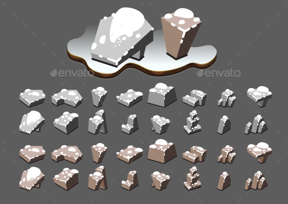 Isometric Stones with Snow for Creating Video Games - Miscellaneous Game Assets