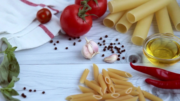Penne, Cannelloni, Spaghetti with Ingredients for Cooking Pasta