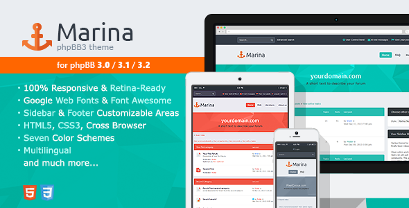 Download Free Marina — Responsive & Retina Ready phpBB3 Theme