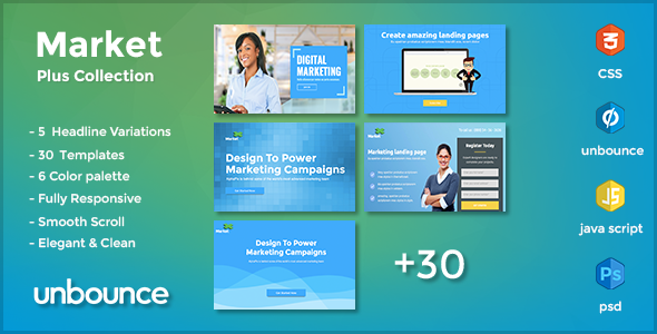 MarketPlus – Marketing Unbounce Landing Page Pack