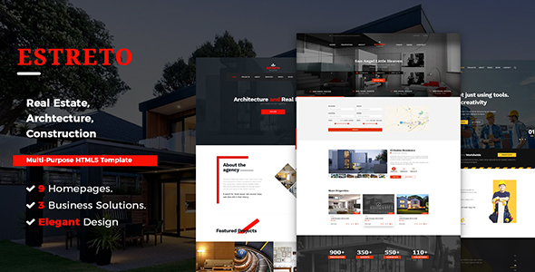 Estreto - Real Estate, Property, Architecture & Construction HTML5 Template - Business Corporate
