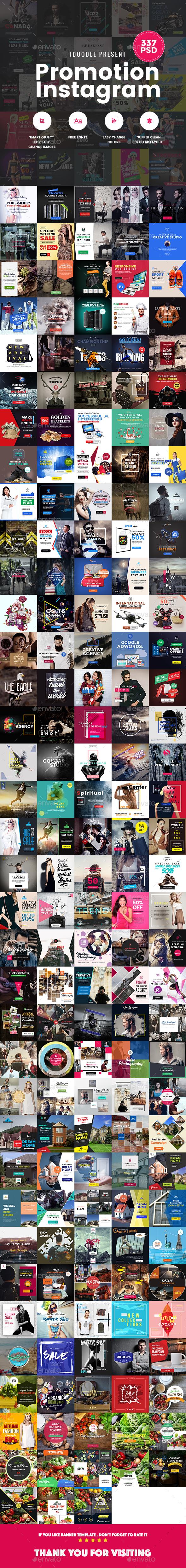 Promotion Instagram Banners Ads Bundle - 337PSD [09 Sets] - Miscellaneous Social Media