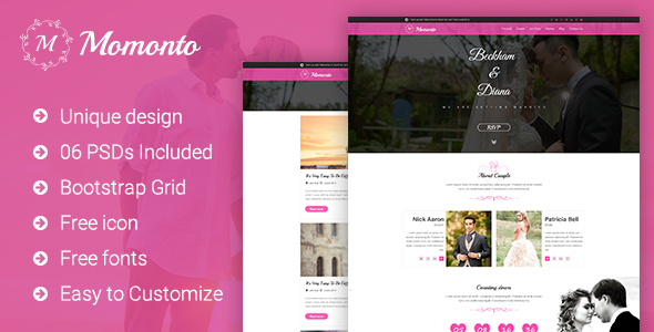 Momonto – Wedding PSD Template