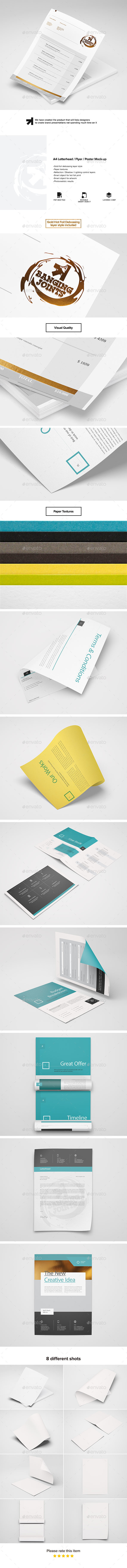 A4 Letterhead / Flyer / Poster Mock-up - Stationery Print