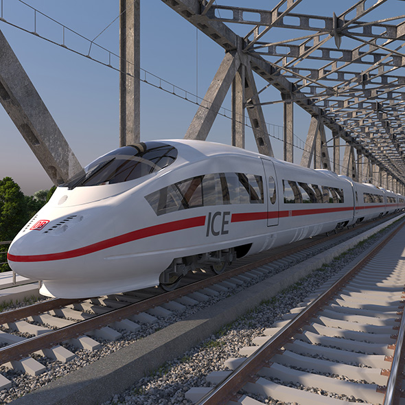 High-speed Electric Train ICE 3 Siemens Velaro E Germany - 3DOcean Item for Sale