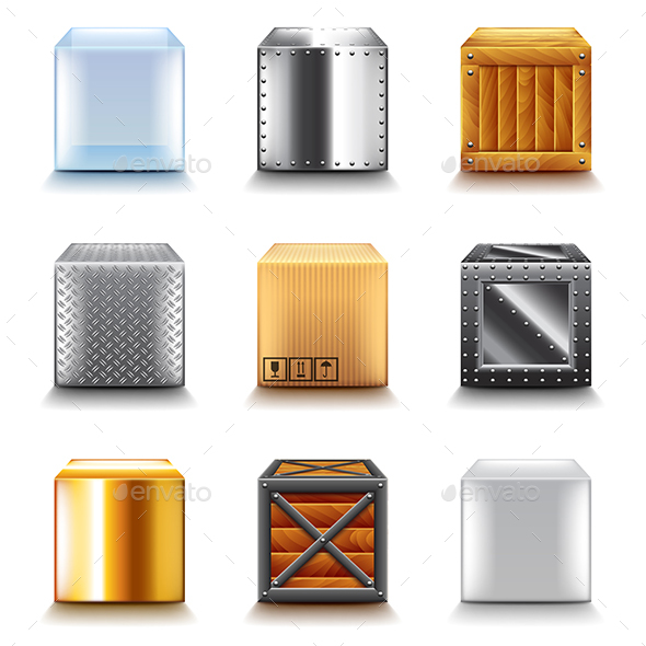 Different Boxes Icons Vector Set - Man-made Objects Objects
