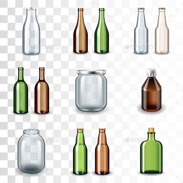Glass Bottles Icons Vector Set - Man-made Objects Objects