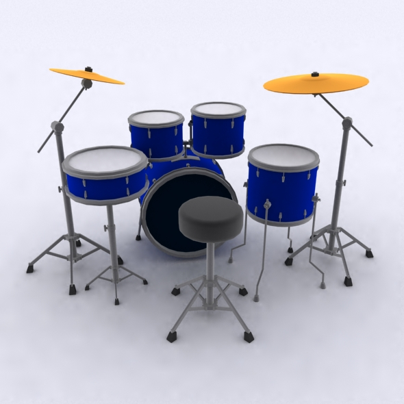 Low Poly Drums Set By 3dbackground 3docean