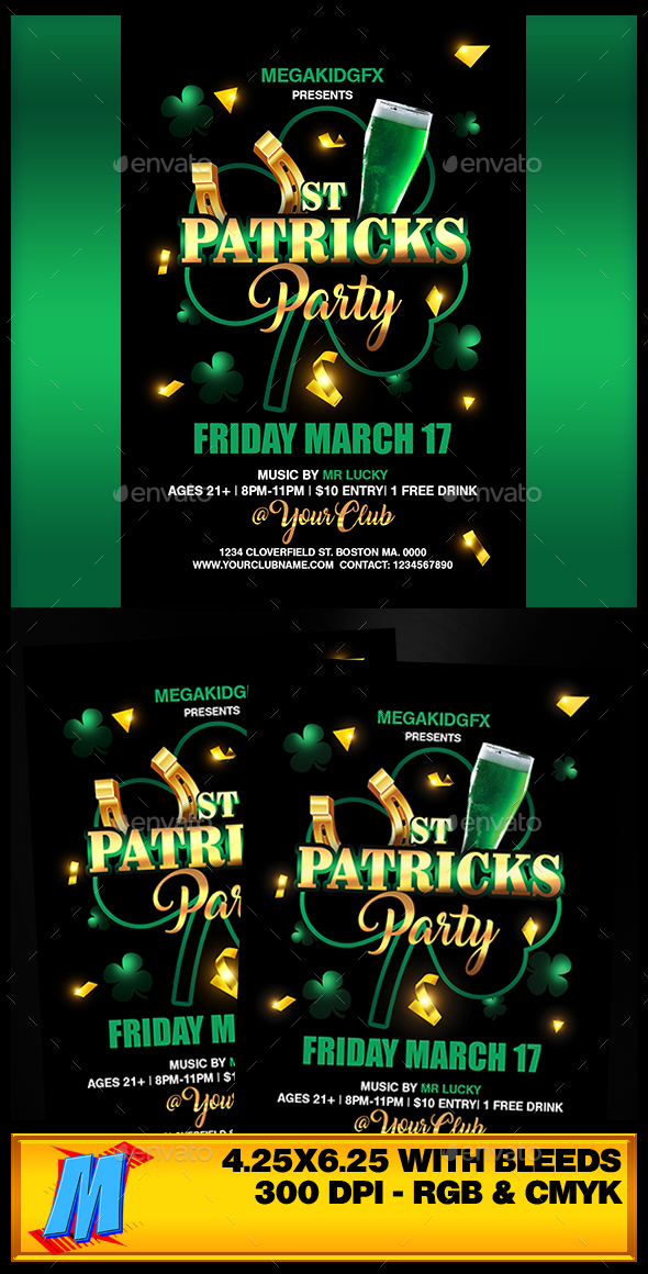 St. Patricks Party Flyer Template - Clubs & Parties Events