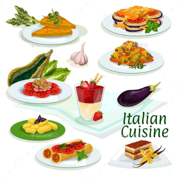 Italian Cuisine Traditional Food Cartoon Icon - Food Objects