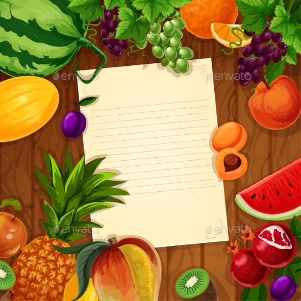 Fruits with Blank Paper on Wooden Background - Food Objects