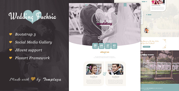 Wedding Fuchsia - WordPress Wedding Theme - Wedding WordPress