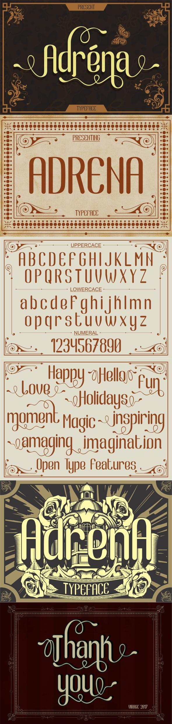 Adrena typeface - Stencil & Type Decorative