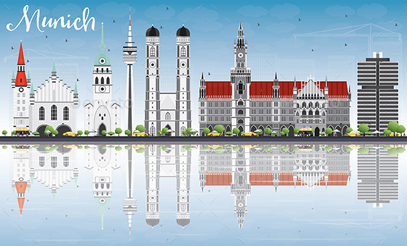 Munich Skyline with Gray Buildings - Buildings Objects