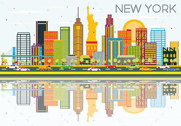 New York Skyline with Color Buildings - Buildings Objects
