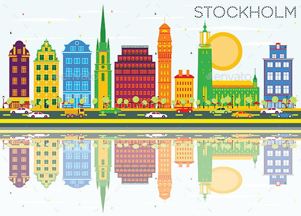 Stockholm Skyline with Color Buildings - Buildings Objects