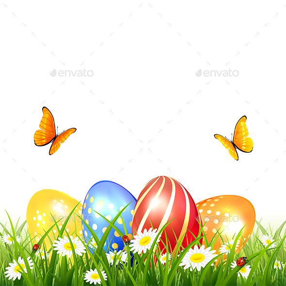 Butterflies Flying over Easter Eggs on Grass - Miscellaneous Seasons/Holidays