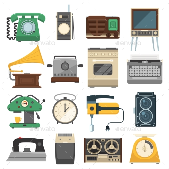 Retro Vintage Household Appliances Vector Set - Man-made Objects Objects