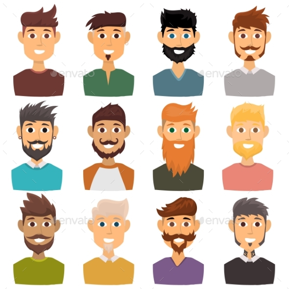 Character of Various Expressions Bearded Man Face - People Characters