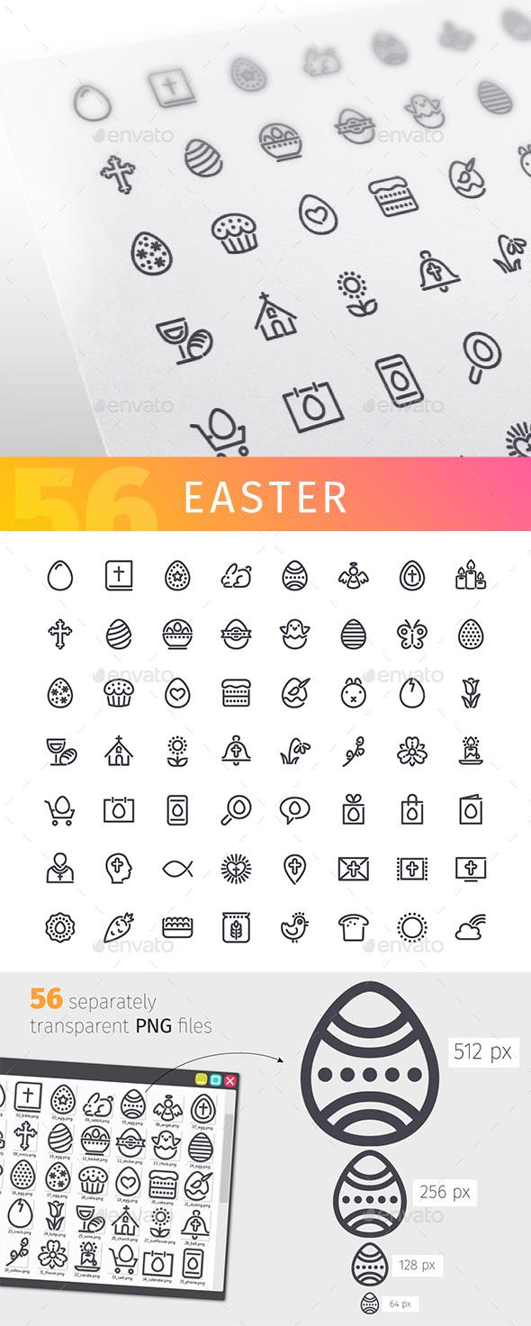 Easter Line Icons Set - Seasonal Icons