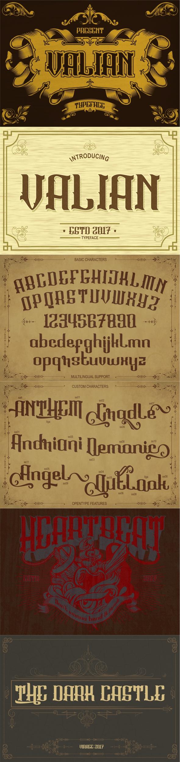 Valian typeface - Gothic Decorative