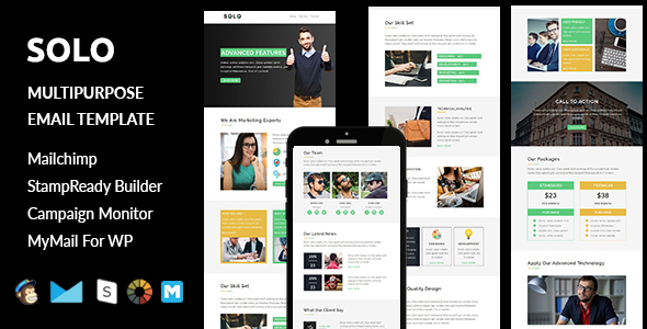 Solo – Multipurpose Responsive Email Template + Stampready Builder