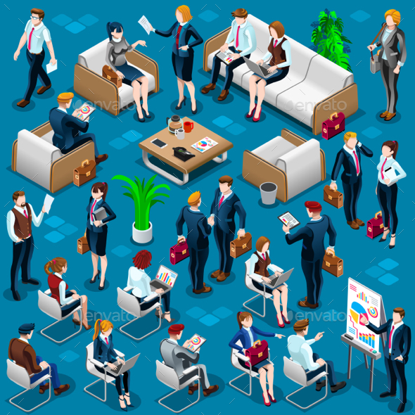 Isometric People Meeting Staff 3D Icon Set Vector Illustration - People Characters