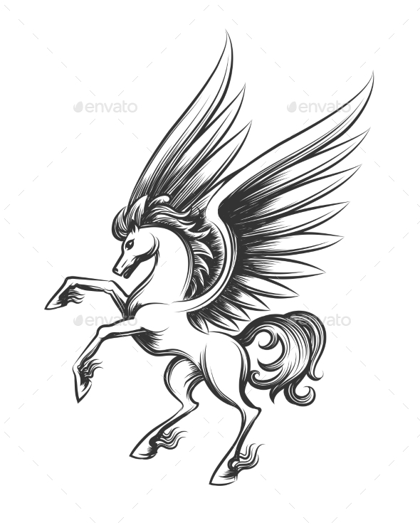 Winged Horse Engraving Illustration - Animals Characters