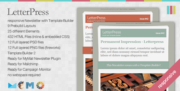 LetterPress - Responsive Newsletter with Template Builder - Newsletters Email Templates