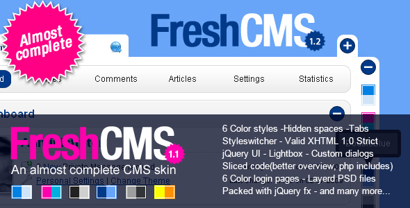 Free Download FreshCMS an almost complete CMS skin Nulled Latest Version