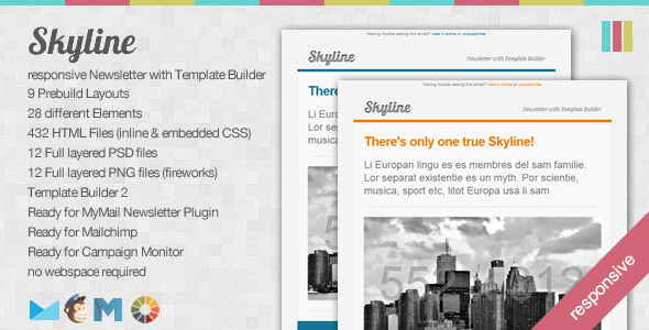 Skyline - Responsive Newsletter with Template Builder - Newsletters Email Templates