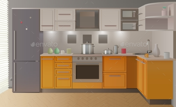Orange Modern Kitchen Interior - Man-made Objects Objects