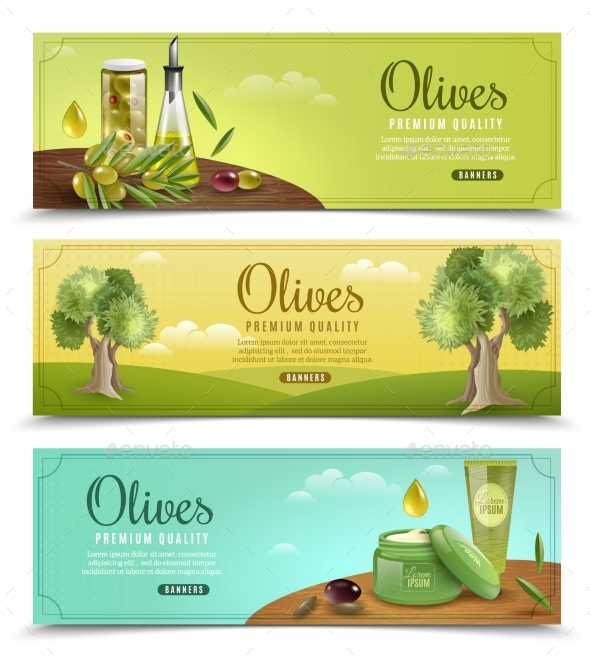 Olive  Banners Set - Organic Objects Objects