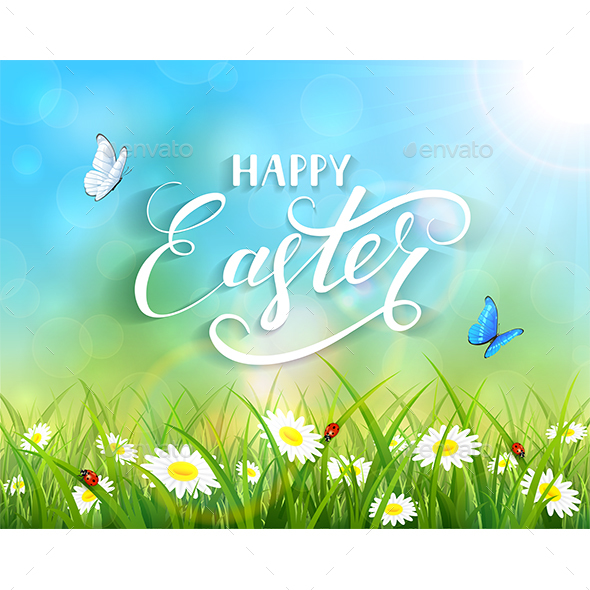 Happy Easter and Butterflies Flying over Flowers - Miscellaneous Seasons/Holidays