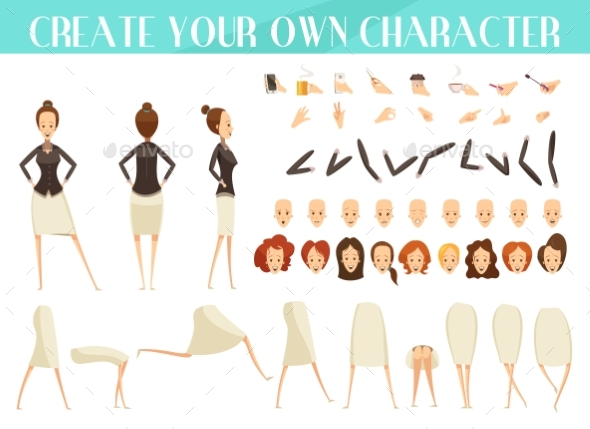 Creation of Woman Cartoon Style Set - People Characters