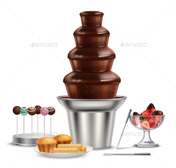 Chocolate Fountain Realistic Composition - Food Objects
