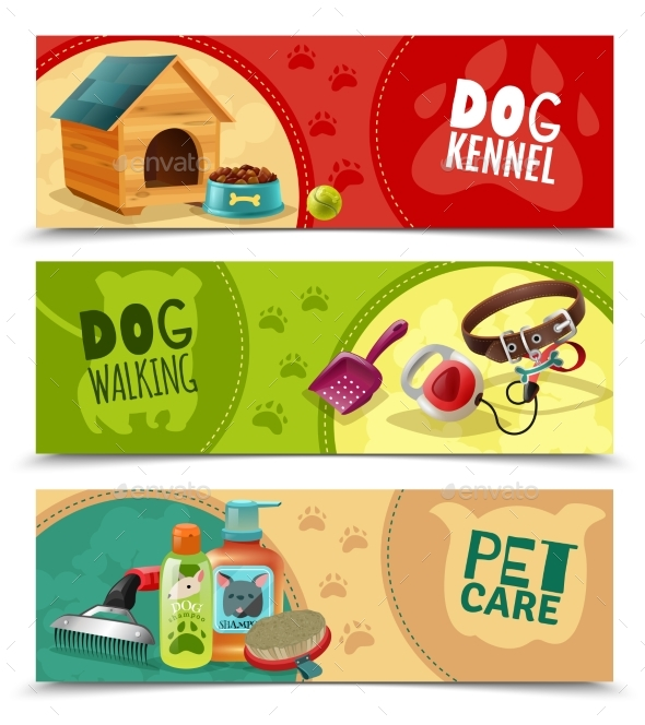 Pet Care 3 Horizontal Banners Set - Backgrounds Decorative