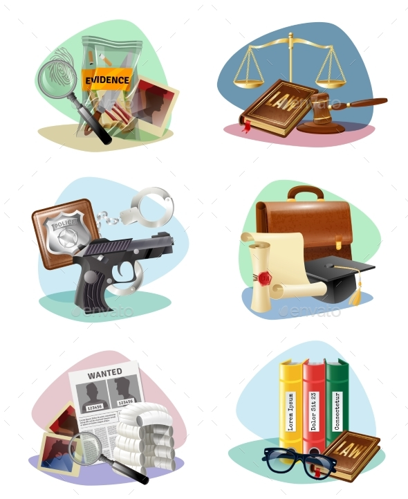 Law Justice Symbols Attributes Icons Collection - Miscellaneous Conceptual