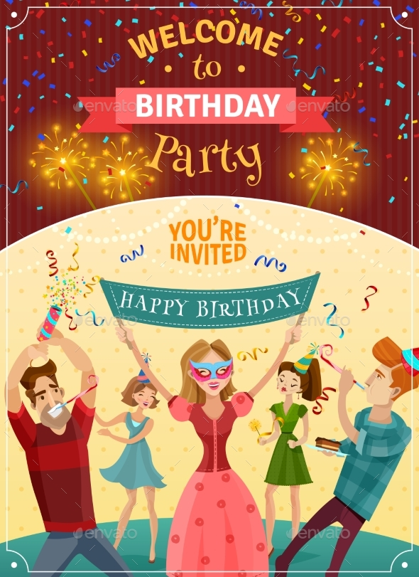 Birthday Party Announcement Invitation Poster - Birthdays Seasons/Holidays