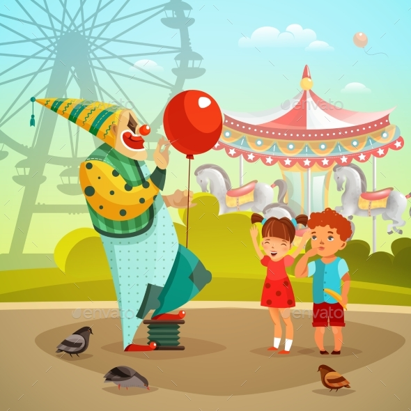 Amusement Park Circus Clown Flat Illustration - Miscellaneous Characters