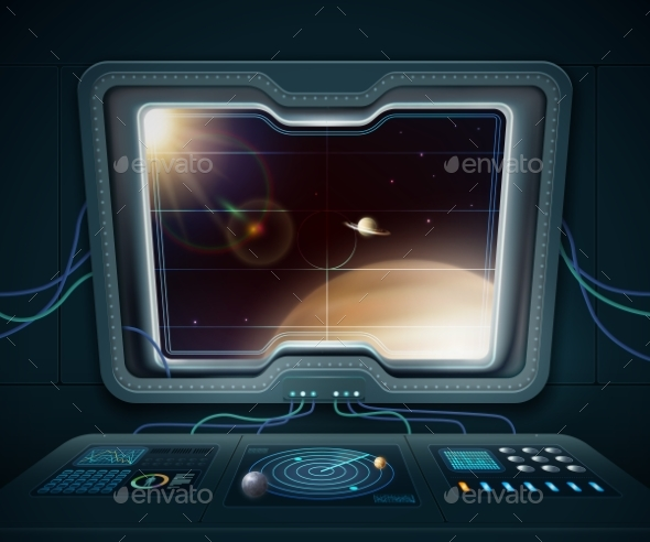 Space Ship Window Illustration - Man-made Objects Objects
