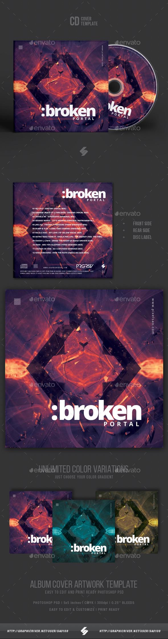 Broken Portal - Electronic Music CD Cover Artwork Template - CD & DVD Artwork Print Templates
