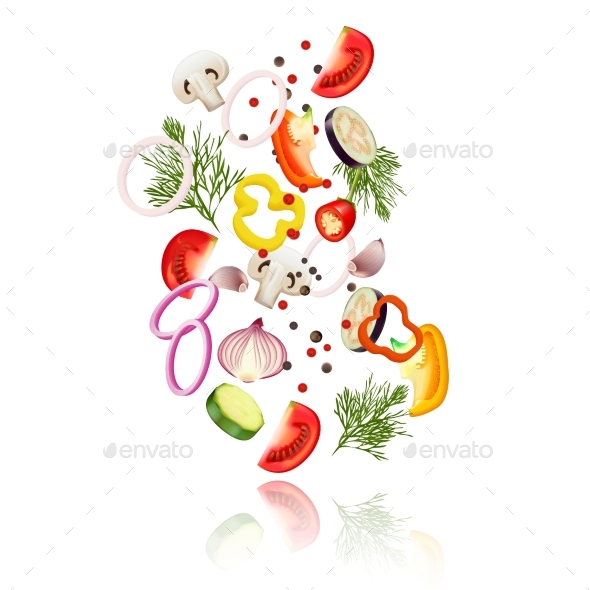 Sliced Vegetables  Concept - Food Objects