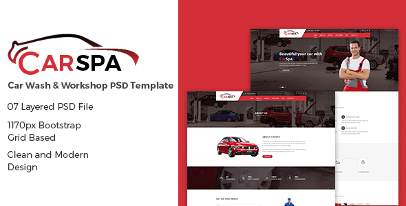 Carspa – Car Wash & Workshop PSD Template