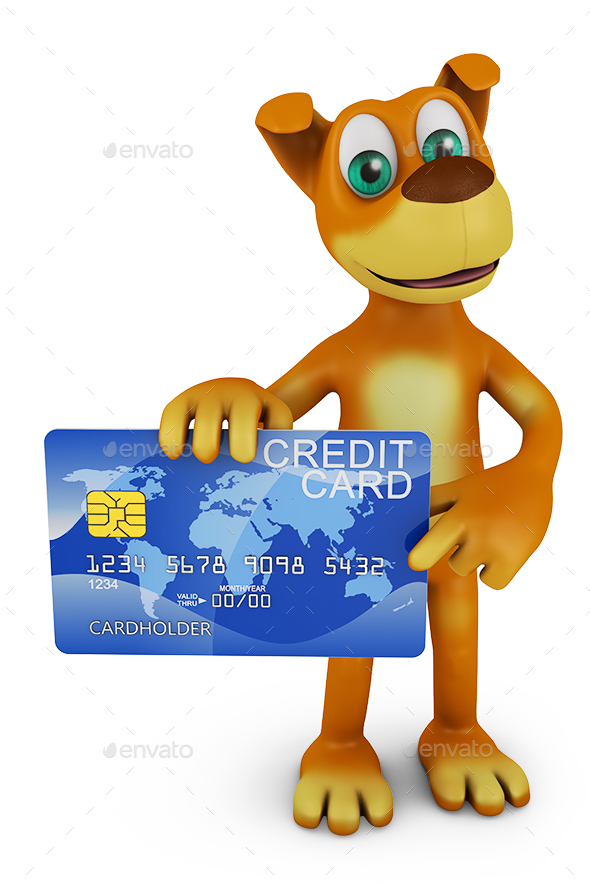 Dog Holding a Credit Card - Characters 3D Renders