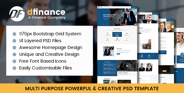 dFinance- Multipurpose PSD Template - Corporate PSD Templates