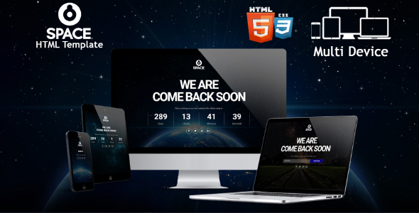 Space – Responsive Coming Soon HTML Template