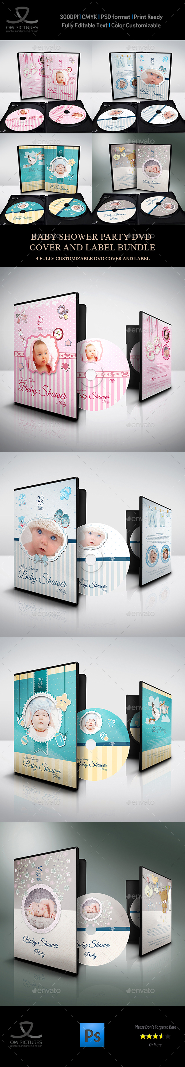 Baby Shower Party DVD Bundle Vol.1 - CD & DVD Artwork Print Templates