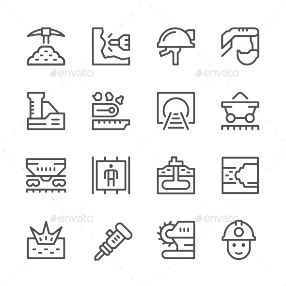 Set Line Icons of Mining - Man-made objects Objects